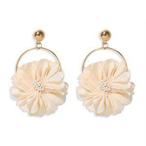 3/$20 New Cream & Gold Flower Oversized Earrings